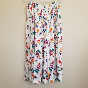 Vintage Ellen Tracy Abstract Pleated Maxi Skirt 14